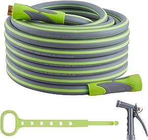 Garden Hose, Hybrid 5/8 in, Heavy Duty, Light Weight and Flexible Water Hose (Green, 50' (feet))