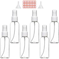 Spray Bottles, 2oz/50ml Clear Empty Fine Mist Plastic Mini Travel Bottle Set, Small Refillable Liquid Containers with 2pcs Funnels and 24pcs Labels (6 Pack)