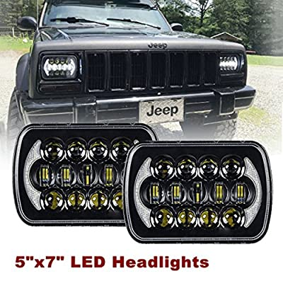 SXMA (2 Pcs) 5''x7' 6x7 inch CREE LED Headlights with High Low Beam DRL for Jeep Wrangler YJ Cherokee XJ H6054 H5054 H6054LL 69822 6052 6053 with Angel Eyes DRL(DOT Certified) (Black Pair): Automotive
