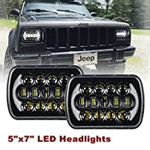 SXMA (2 Pcs) DOT Certified 5''x7' 6x7 inch CREE LED Headlights with High Low Beam DRL for Jeep Wrangler YJ Cherokee XJ H6054 H5054 H6054LL 69822 6052 6053 with Angel Eyes DRL (Black Pair)