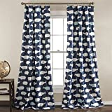 Lush Decor Whale Window Curtain Panel Pair, 84 inch x 52 inch, Navy, Set of 2