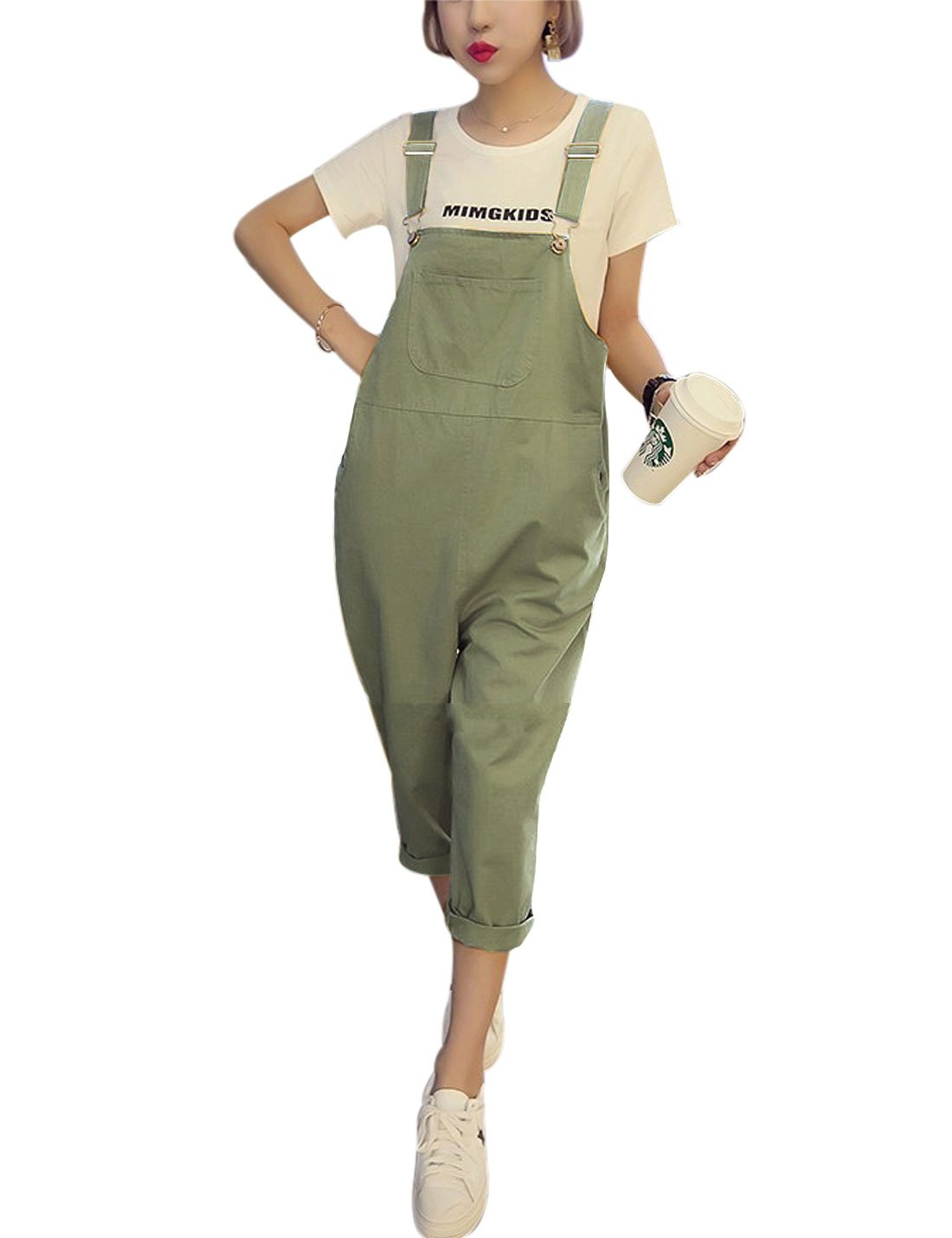 Yeokou Women's Loose Baggy Cotton Wide Leg Jumpsuit Rompers Overalls Harem Pants (Small, Green002)