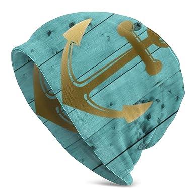 Zara-Decor - Gorro de Lana con diseño de Ancla náutica, Color Azul ...