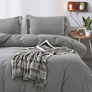 """Duvet Cover Full, Ultra Soft Double Brushed Microfiber Hotel Bedding Collection with Zipper Closure and Corner Ties and 2 Pillow Shams, Full (80"""" 90""""), Grey"""