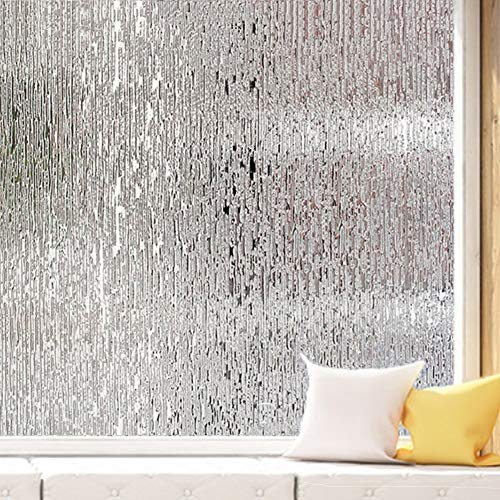 XXRBB Frosted Opaque Non-Adhesive Window Film Privacy Glass Sticker Anti-UV Protection Static Cling Office Home Window Coverings Decorative,90x200cm(35x79inch)