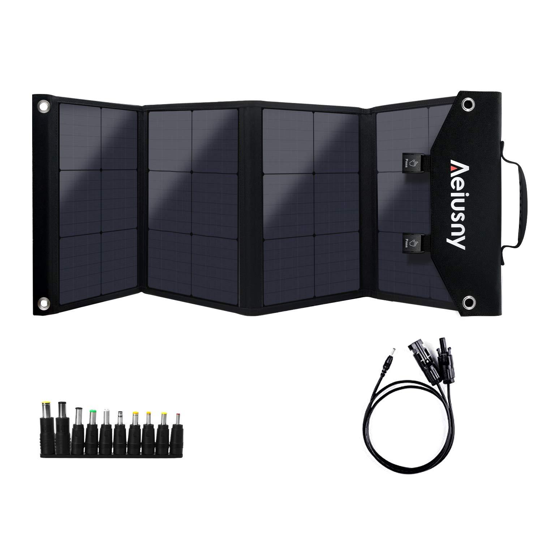 Aeiusny Solar Panel Foldable 100W Monocrystalline Solar Charger Portable for Suaoki/Jackery/Webetop Portable Generator/Goal Zero Yeti Power Station and USB Devices, QC3.0 USB Ports Laptop Tablet