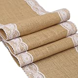 Newdanceus 12X108 Burlap Lace Hessian Table Runner Rustic Natural Jute Country Wedding Party Dining Table Decoration Farmhouse Decor (B-1pc)