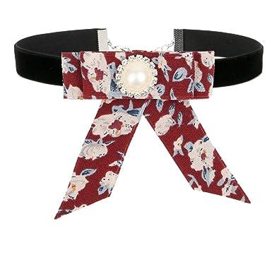 Amazon.com  ROWAG Floral Black Ribbon Choker Necklace for Women Girls  Handmade Adjustable Flower Bow Tie Shirt Collar  Jewelry 1e0812ac13