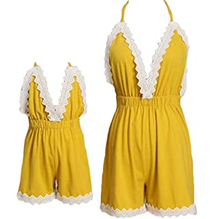 22cf8bb62655 Family Matching Outfit Mommy and Me Halter V Neck Jumpsuit Overall Romper  Parent- Child Clothes