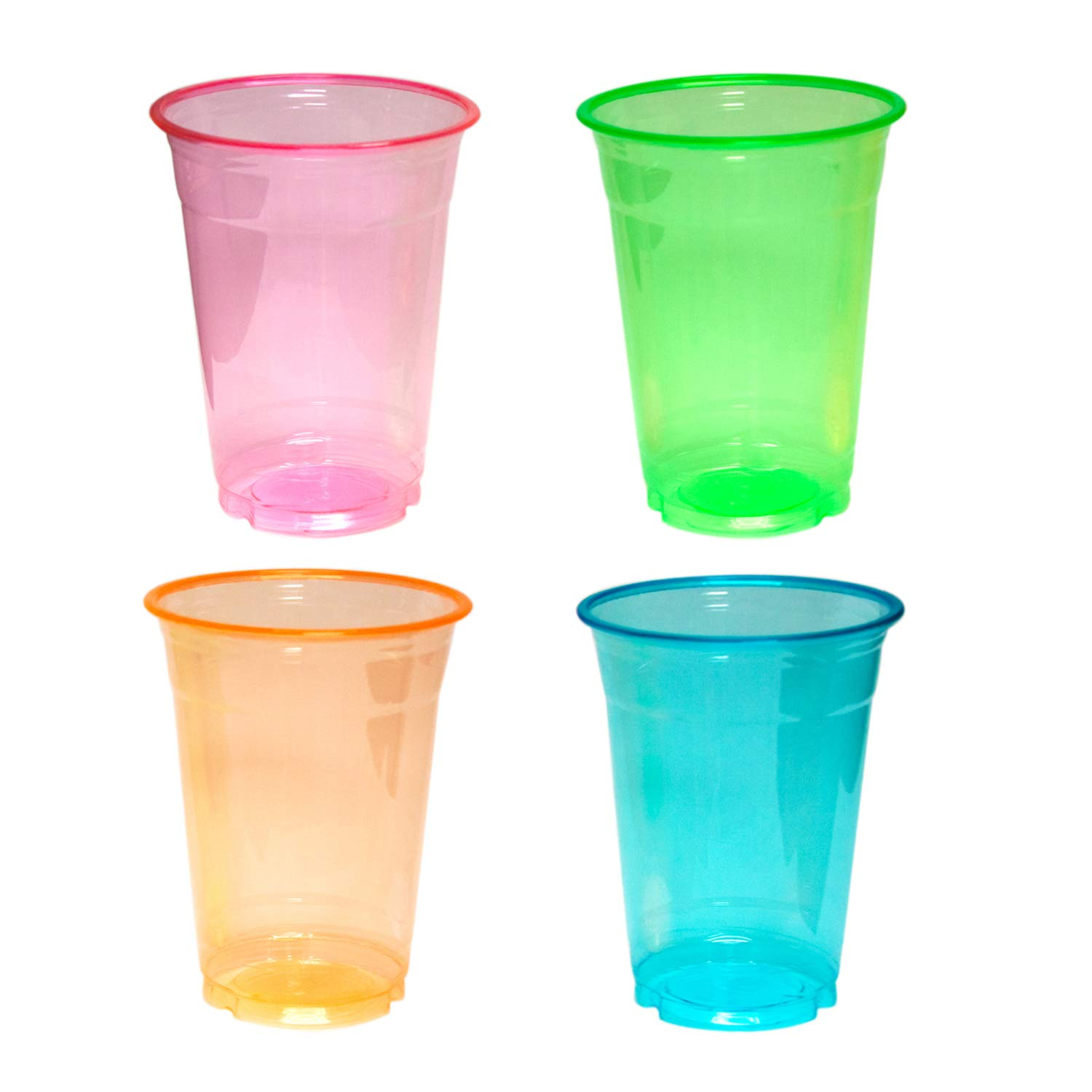 Party Essentials N166409 Soft Plastic 16 oz. Party Cups/Pint Glasses, Assorted Neon (Pack of 640) by Party Essentials