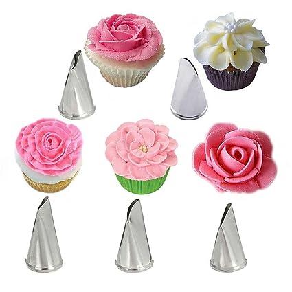 Amazon Com Unmengii 5 Pcs Set Cupcake Rose Flower Pastry