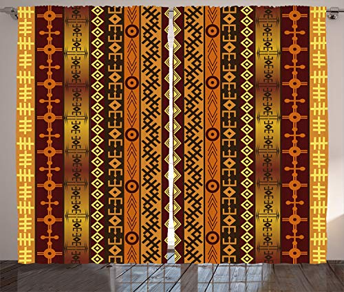 Ambesonne Tribal Curtains, African Motif with Ethnic Effects and Traditional Cultural Folk Design, Living Room Bedroom Window Drapes 2 Panel Set, 108W X 96L Inches, Orange Burgundy Gold