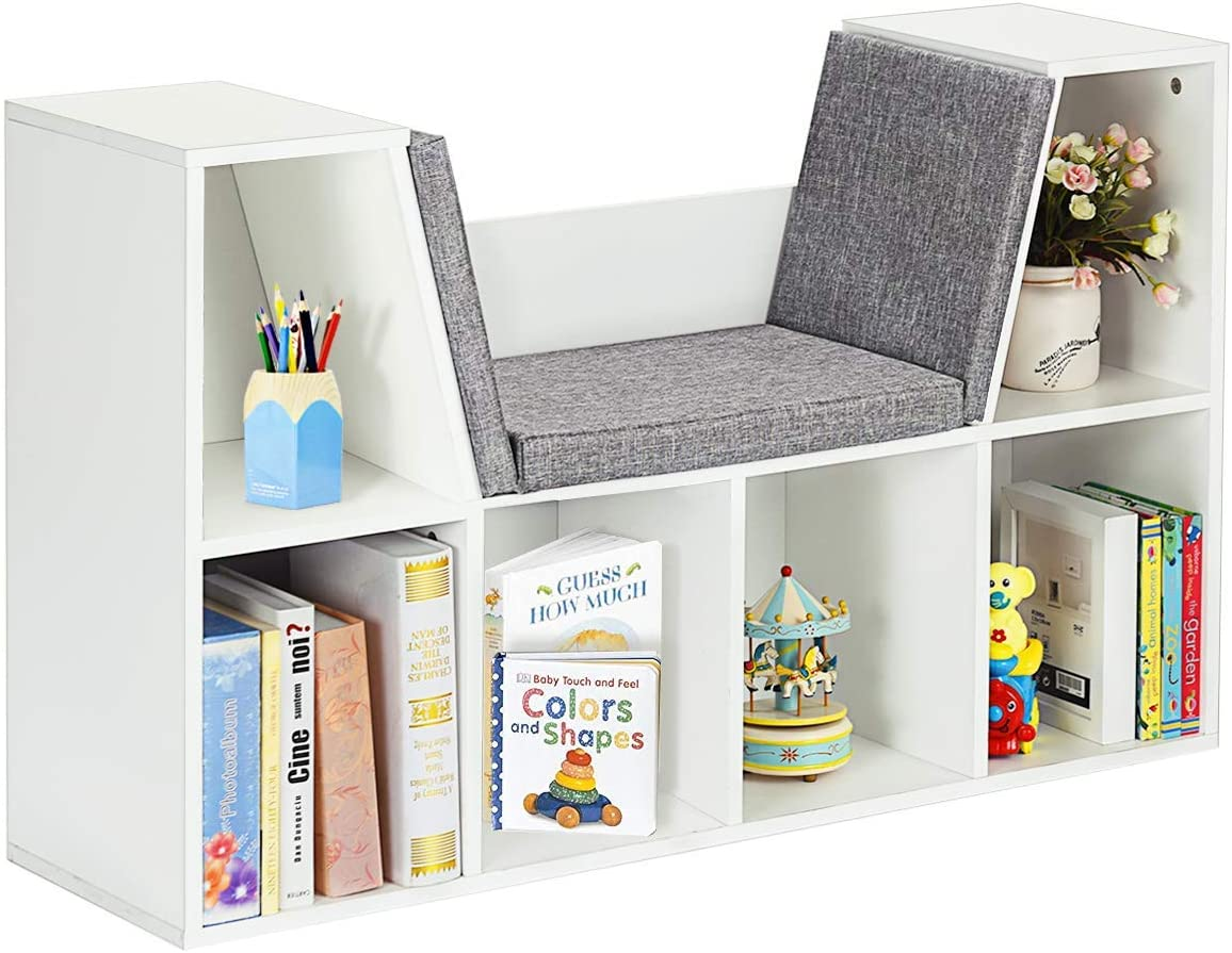 Costzon 6-Cubby Kids Bookcase w Cushioned Reading Nook, Multi Purpose Storage Organizer Cabinet Shelf with Soft Cushion and Thick Wood Board for Children Girls Boys Bedroom Decor Room Modern White