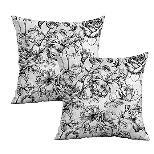 (Khaki home Floral Square Pillowcase Covers Hand Drawn Rose Petals Square Pillowcase Protector Cushion Cases Pillowcases for Sofa Bedroom Car W 24