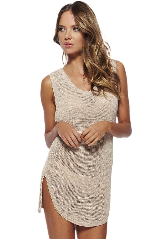 NICE BUY Damen Sommerkleider Strandkleid Schlitz Beachwear Minikleider