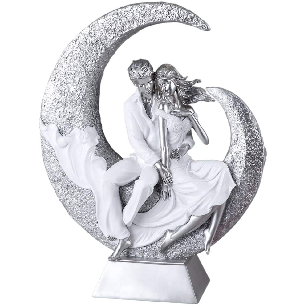 Formano Paar Deko Objekt Deko Skulptur weiß silber 720719 Hochzeit Liebe auf Mond