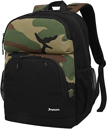 MATMO Waterproof Hiking Backpack for Women Mens Lightweight Daypack for Travel Camouflage Army Green and Black