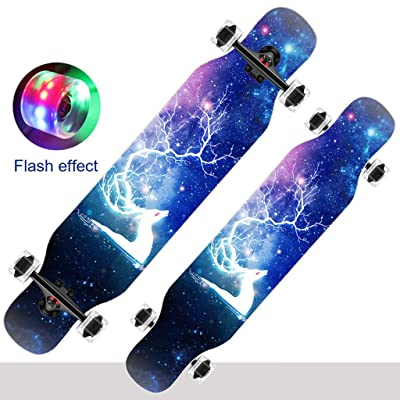 Skateboards, Longboard Skateboard Complete Cruiser, 42x10 Inch Skateboard 9 Layer Maple Deck For Adults,Teens, And Kids Beginners,long Board Complete Drop Down Through Deck Professional Longboard: Home & Kitchen