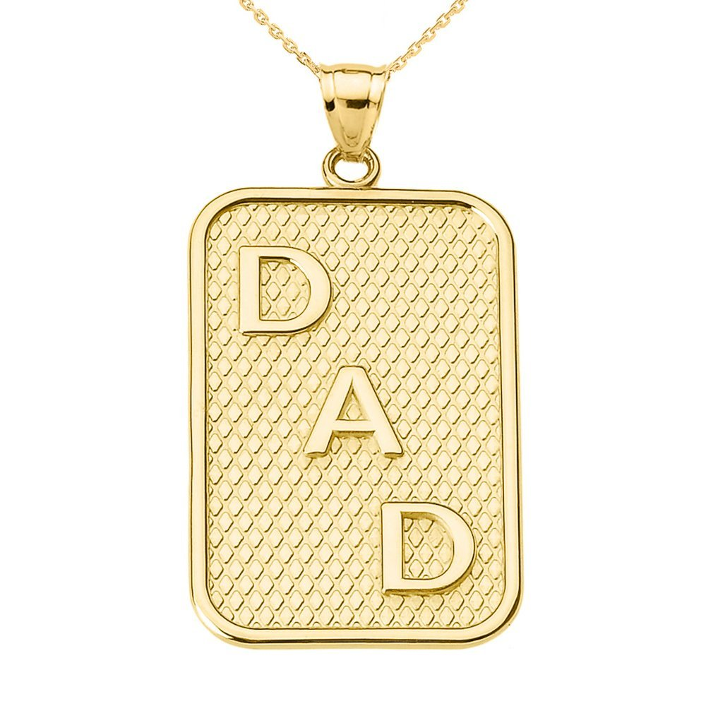 14K Yellow Gold ''DAD'' Dog-Tag Engravable Pendant Necklace With With 18'' Chain
