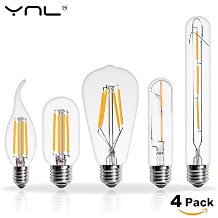 Amazon.com: 4PCS LED Edison Bulb E27 Lampada ST64 G80 T45 LED Lamp 220V 2W 4W 6W 8W Bombilla Vintage Antique Retro Glass Filament Light Bulb: Home & Kitchen