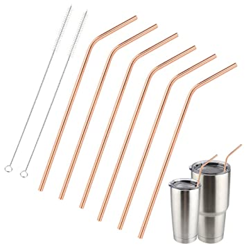 407bd282ec0 Accmor Reusable Copper Drinking Straws, 18/8 Stainless Steel 10.5inch Extra  Long Bend Straws Set of 6,...