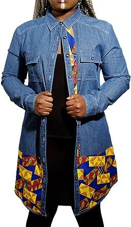 CHENGYANG Mujer Larga Camisa Vaquera Casual Camisas Denim Mangas Largas Jeans Tops Outwear: Amazon.es: Ropa y accesorios