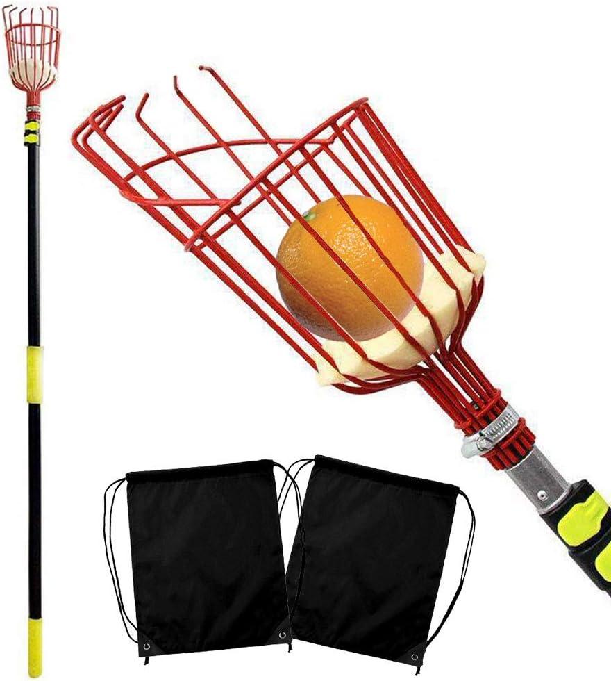YOFIT 13-Foot Fruit Picker Basket with Cushion, Professional Metal Fruit Catcher Harvester, Fruit Picking Tool for Avocado Apple Orange and Any Kinds of Fruits +Bonus Fruit Carrying Bag