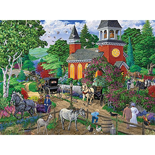 Bits and Pieces - 300 Piece Jigsaw Puzzle for Adults - After Service - 300 pc Sunday Church Scene Jigsaw by Artist Joseph Burgess