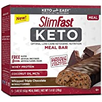 SlimFast Keto Meal Replacement Bar, Whipped Triple Chocolate, 5 Count