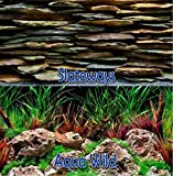 Brown Sugar Seaview Slateways/Aqua Wild 12'' Height Aquarium Double-sided Background (12'' x 36'')