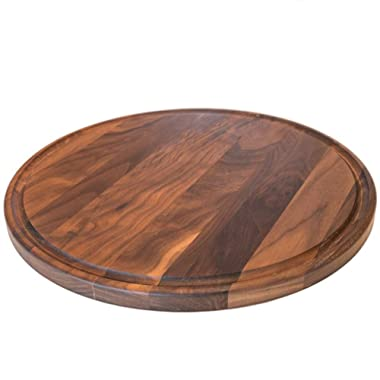 Round Wood Cutting Board by Virginia Boys Kitchens - 13.5 Inch American Walnut Cheese Serving Tray and Charcuterie Platter with Juice Drip Groove