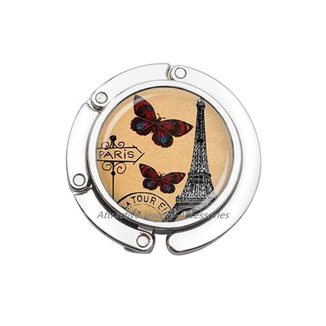 Q1 Tower Paris Bag Hook Butterfly Purse Hook,Handmade Jewelry,Paris Keepsake Gift,Glass Jewelry,Tower Purse Hook,QK166