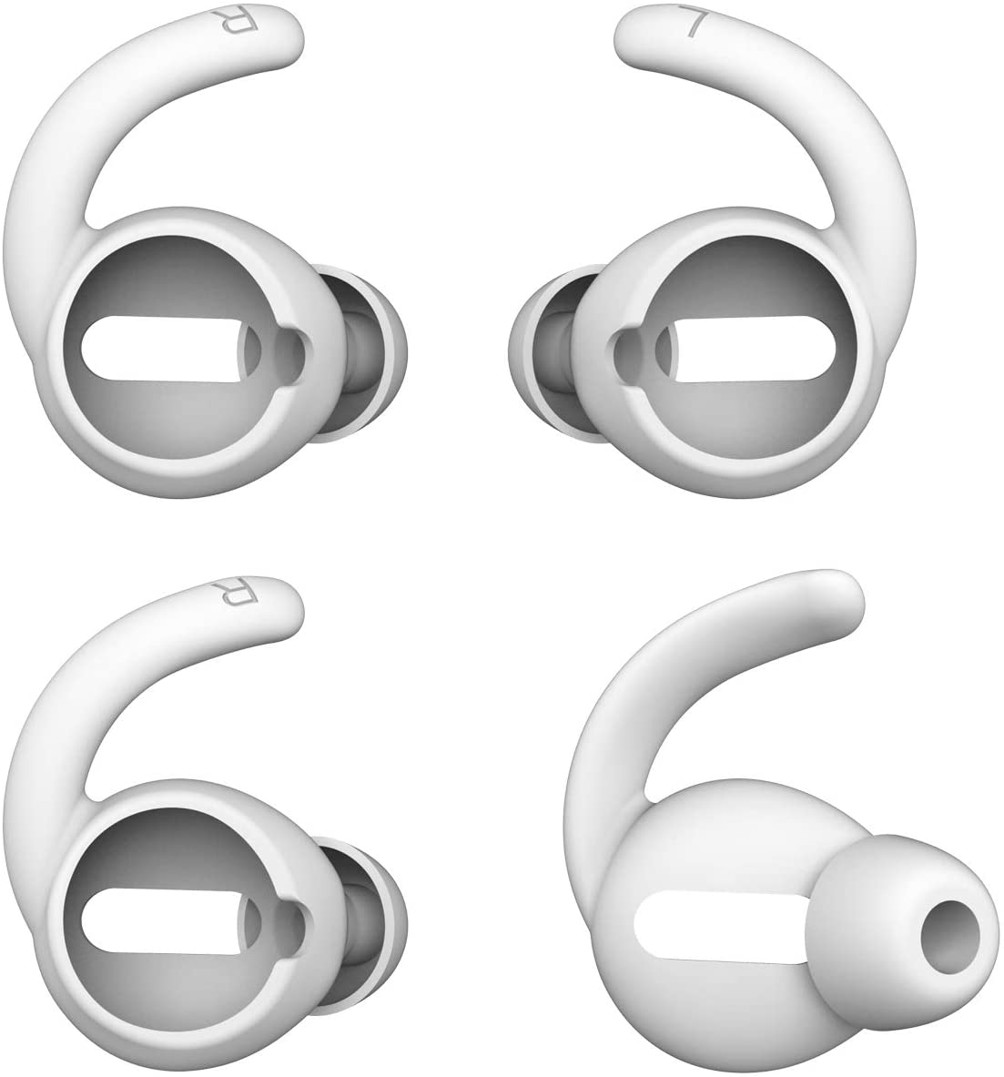 Anti-Slip Earhooks Soft Silicone Skin Compatible with Apple Airpods 2 & 1 Lightweight Sound Quality Enhancement for Headphones Outdoor Activities in-Ear EarHook 2 Pairs White & Black
