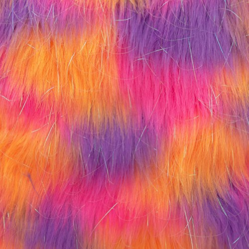 Faux Fake Fur Jumble Tinsel Orange Pink Purple 62 Inch Wide Fabric by the Yard (F.E.®)