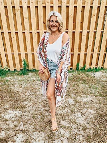 Hibluco Womens Cover ups Sheer Kimono Beach Wear Bikini Swimsuit Swimwear