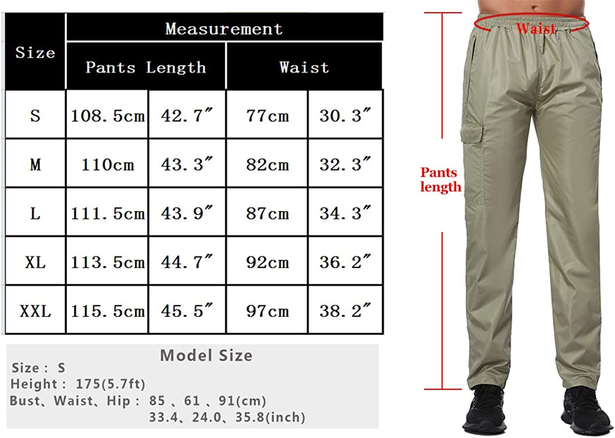Abollria Mens Waterproof Trousers with Pockets Lightweight Active Outdoor Windbreaker Rain Over Trousers