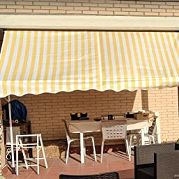 Festnight Toldo Lateral para Balcón y Terraza, Manual Retráctil (300 cm, Amarillo y Blanco a Rayas): Amazon.es: Jardín