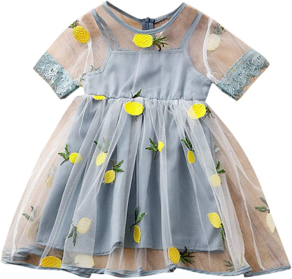 Yaseking Summer Toddler Kids Baby Girls Lemon Pineapple Embroidered Short Sleeve Mesh Dress