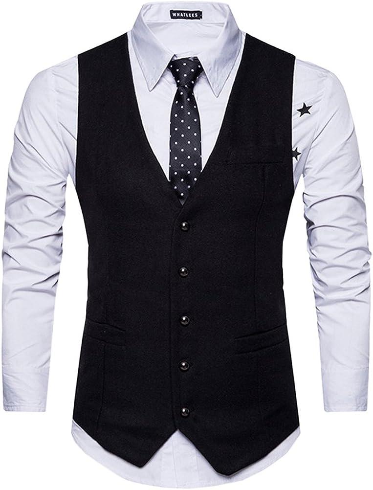 PengGeng Anzugweste Herren V-Ausschnitt /Ärmellose Westen Slim Fit Smoking Sakko Herrenweste Herrenanzug Anzug Business Blazer