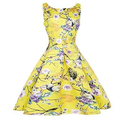 Damen Kleid Elegant, Manadlian Ärmellos Kleid Gelb Jahrgang Blumen ...