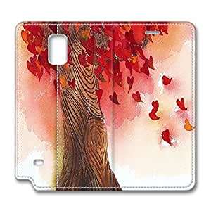 Brian114 Samsung Galaxy Note 4 Case, Note 4 Case - Samsung Note 4 Protective and Light Carrying Cover Tree Of Love With Hearts And Wind Non-Slip Leather Case for Samsung Galaxy Note 4