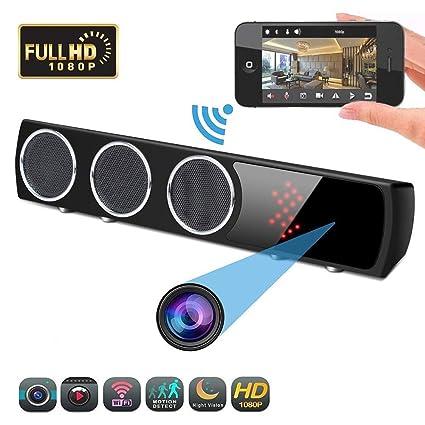 YEXIN 1080p HD cámara Oculta y Altavoz Bluetooth Subwoofer WiFi Subwoofer 160 ° Infrarrojo Visión Nocturna