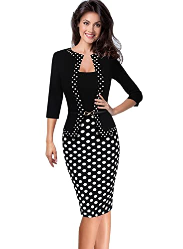 Vfemage Womens Vintage Faux Jacket One-Piece Wear To Work Office Dress