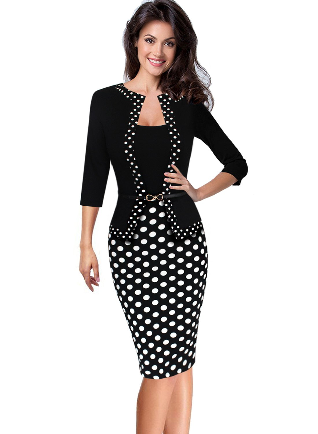 VfEmage Womens Vintage Faux Jacket One-Piece Wear to Work Office Dress 4515 BLK S