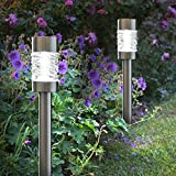 Pack of 4 Solar Powered 5 Lumen Stainless Steel Martello Stake Post Lights for Gardens, Driveways & Pathwa