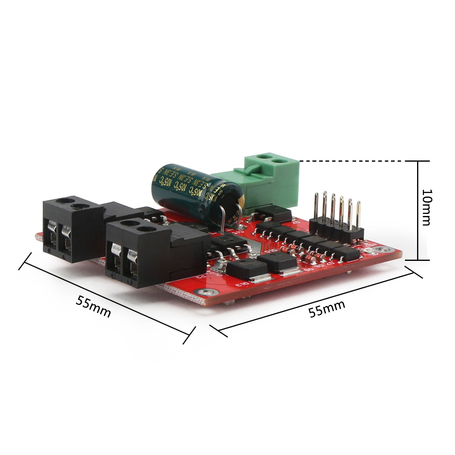 DC Motor Driver, DROK L298 Dual H Bridge Motor Speed Controller DC 6.5V-27V 7A PWM Motor Regulator Board 12V 24V Electric Motor Control Module Industrial 160W with Optocoupler Isolation by DROK (Image #7)
