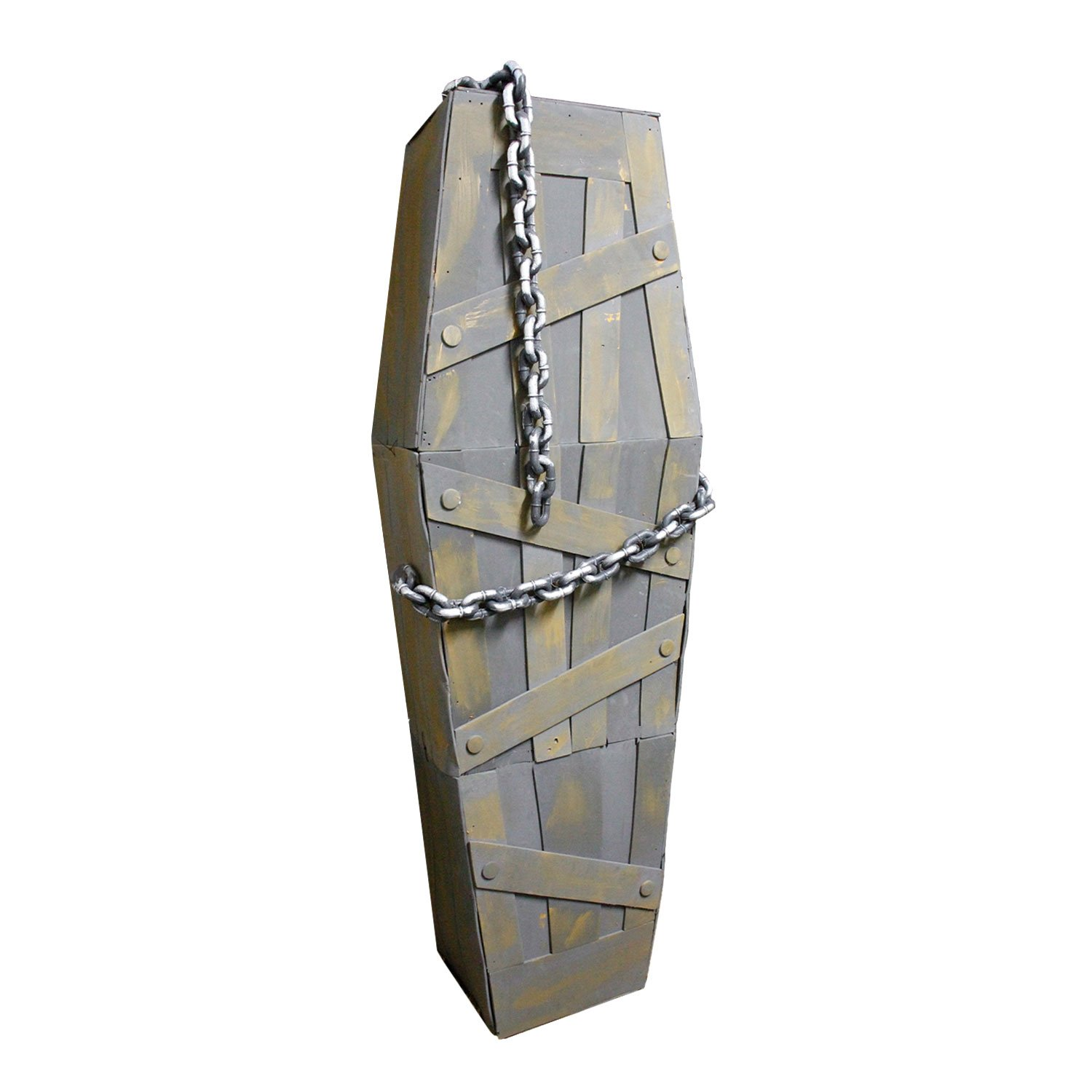 Halloween Haunters 5' 4'' Life Sized Animated Shaking Coffin Prop Decoration - Speaking Grave Corpse, Death, Skeleton, Haunted House - Battery Operated