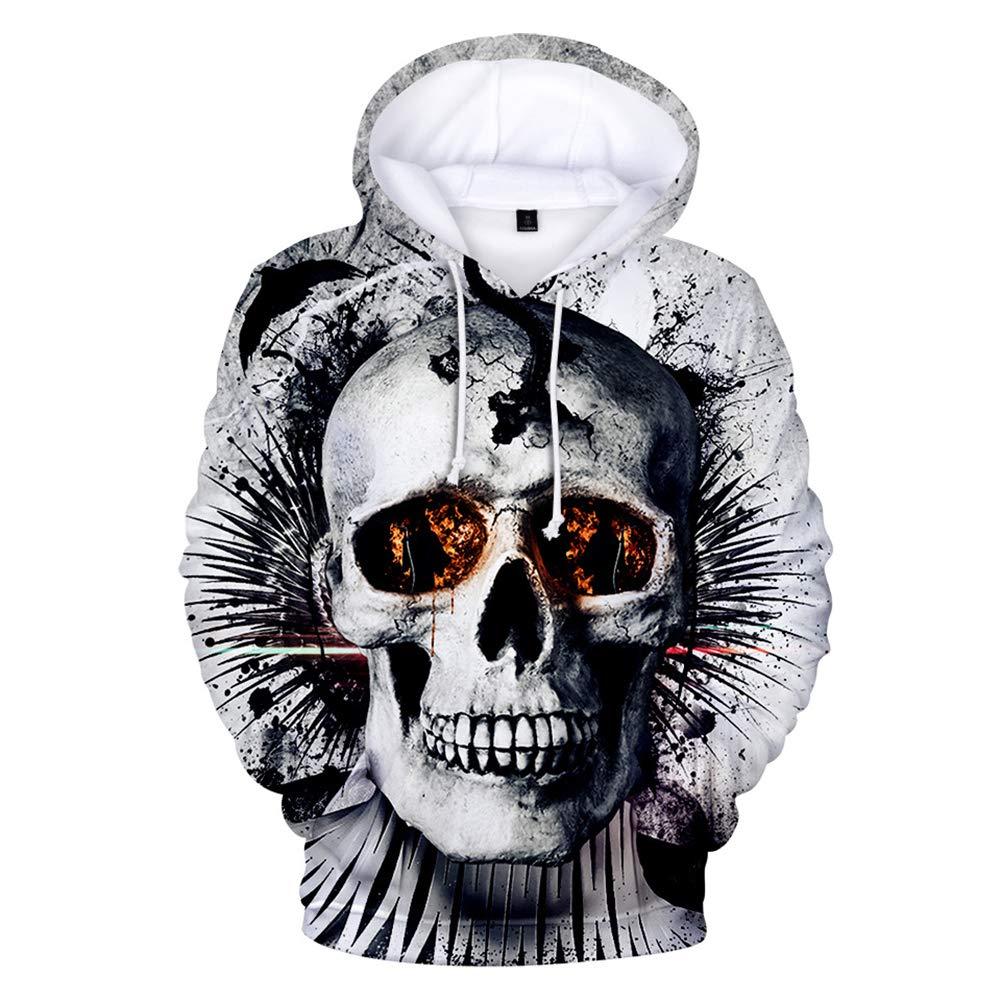 XIAOKEAI Pull à Capuche pour Hommes, 2019 Printemps Et éTé Personnalité Unisexe 3D CrâNe Impression La Mode Coton Casual en Vrac Manches Longues T-Shirt Sweat-Shirt Pullover