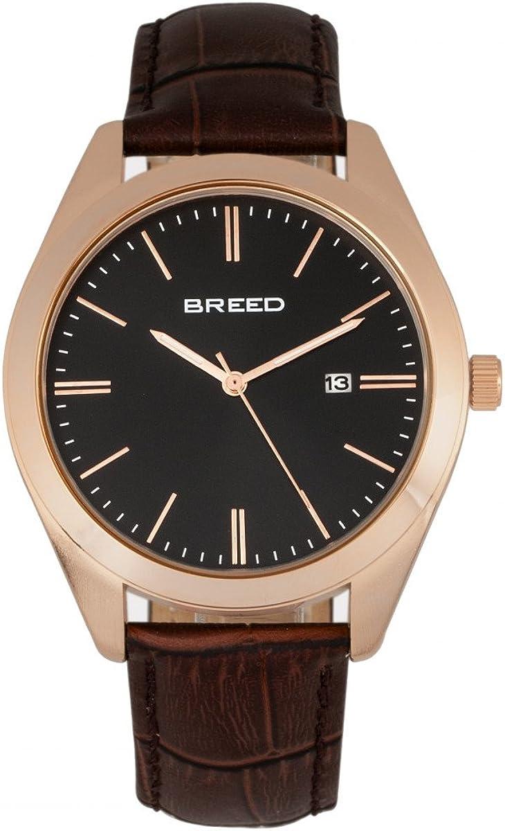 Breed Louis BRD7900 - Reloj de cuarzo con correa de piel auténtica con relieve de cocodrilo para hombre