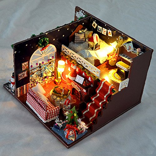 WYD Hand-Assembled Wooden Miniature Christmas Dollhouse for sale  Delivered anywhere in USA